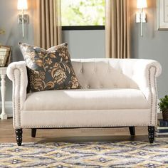 See the Huntingdon Chesterfield Loveseat Upholstery: Oatmeal. Grey Furniture, How To Clean Furniture, Living Room Furniture, Furniture Ideas, House Furniture, Furniture Online, Dining Rooms, Furniture Design, Design Living Room