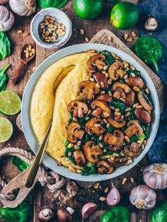 Creamy Vegan Polenta with Mushrooms and Spinach , By Ayana Cashay . This Creamy Vegan Polenta with Mushrooms, Spinach and Pine n. Spinach Recipes, Veggie Recipes, Vegetarian Recipes, Healthy Recipes, Vegan Polenta Recipes, Vegan Ravioli, Easy Recipes, Diet Recipes, Healthy Meals