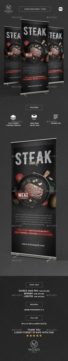 Steak House Roll Banner  — PSD Template