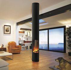 Deze hangende haard haalt de verbrandingslucht via de schoorsteen   Innovatief.be