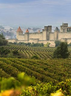 """Carcassonne is divided by the River Aude. The medieval La Cité, a UNESCO listed monument surrounded by 3km of walls and 52 towers sits atop, keen eyed visitors might recognise the castle as the location for the film """"Robin Hood – Prince of Thieves"""". The Ville Basse (lower town) created in the 13th century, spills out below, along boulevards that mark the ancient city walls. The two halves of the city are joined by the medieval Pont Vieux."""