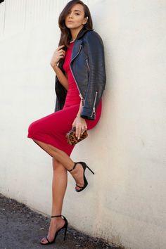 Red dress. Leather jacket. Leopard.