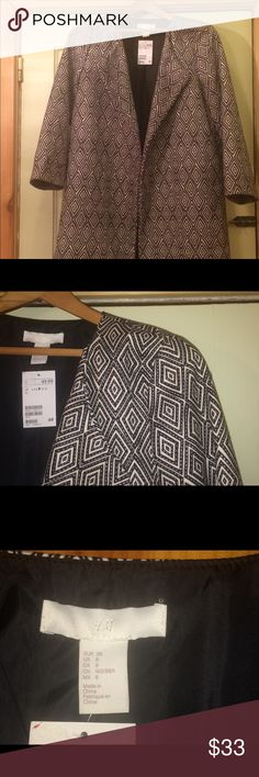 H&M Open Front Coat Size 8, NWT. Awesome H&M coat. Black & white pattern. Lined w/pockets. Jacket feels heavy and soft. Great quality! H&M Jackets & Coats