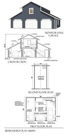 3 Car Monitor Garage With Loft Plan 1600 1 by Behm Design 3 Car Garage Plans, Garage Plans With Loft, Loft Plan, Garage Loft, Garage Apartment Plans, Garage Shed, Garage Apartments, Garage Storage, Small Garage