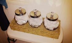 Bathroom decor. Glass jars from dollar tree and crystal drawer knobs from walmart! Cheap easy cute bathroom DIY project!
