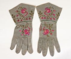Hand-embroidered suede gloves, c.1845-65, from the Vintage Textile archives.