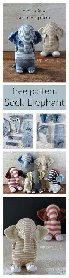 Ella, the sock elephant, free pattern & tutorial
