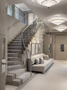 Kelly hoppen the london property london property, foyer staircase, staircase banister ideas, staircases Home Stairs Design, Dream Home Design, Home Interior Design, House Design, Interior Modern, Luxury Interior, Interior Ideas, Interior Inspiration, Flur Design