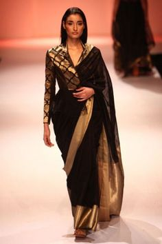 the jacketed sari;Rahul Mishra black and gold from Lakme Fashion week Spring 2013!