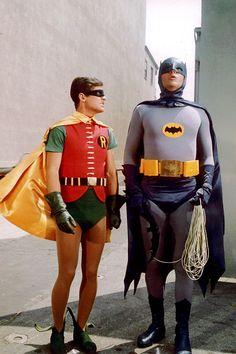 DC Comics in film - 1966 - Batman - Adam West as Batman & Burt Ward as Robin Batman Robin, Adam West Batman, Batman 1966, Im Batman, Superman, Batman Stuff, Batman Tv Show, Batman Tv Series, Bob Kane