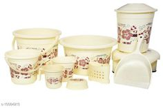 Bath Sets 10 Pieces Plastic Bathroom Set Ivory Pack: Multipack Country of Origin: India Sizes Available: Free Size   Catalog Rating: ★4.3 (721)  Catalog Name: Fancy Bath Sets CatalogID_1806235 C132-SC1587 Code: 859-10084213-6162