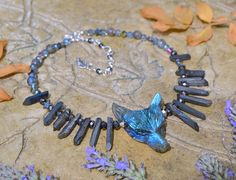 Labradorite wolf necklace dark mori fashion raw crystal