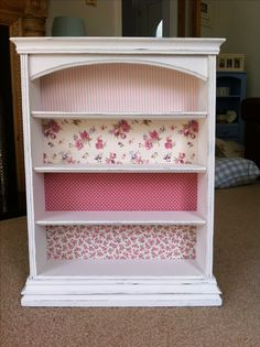 ...after! Upcylced bookshelf with shabby chic floral fabrics.
