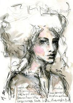 Watercolor Girl, Watercolor Ideas, Watercolor Paintings, Art Journal Pages, Art Journaling, Junk Journal, Landscape Sketch, Encaustic Art, Abstract Oil