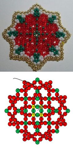 Free PDF Download for Star Flower Ornament by Sandrine featured in Bead-Patterns.com current Newsletter!