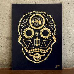 NEW T-shirt tête de mort cyclisme pièces vélo