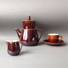 Villeroy And Boch Coffee / Tea Set Coffee pot Filter Glazed Coffee Cups And Saucers, Cup And Saucer, Vintage Kitchenware, Dark Brown Color, Milk Jug, Glazed Ceramic, Dementia, Black Coffee, Luxembourg