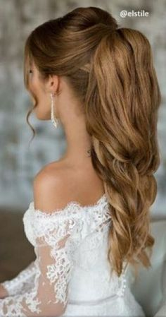 Hair inspiration for bride with long hair