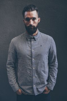 Our brushed cotton gingham check shirt Mens Button Up, Button Up Shirts, Sgt Pepper, Undercut Pompadour, Moda Casual, Photographer Branding, Gingham Check, Well Dressed Men, Check Shirt
