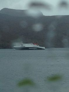 MV Loch Seaforth new ferry on Ullapool to stornoway route. From a very wet car window!
