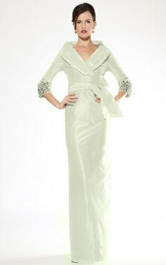 Jeweled Sleeve Taffeta Gown | Teri Jon