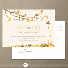 Fall Leaves Personalized Wedding Save the Date Postcard - CUSTOMIZE Colors and Content