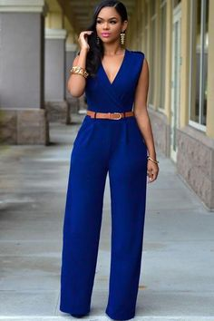 Royal Blue V Neck Belt Embellished Jumpsuit MB64003-5