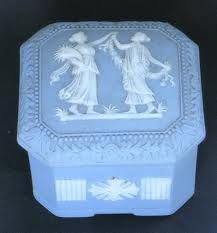 Blue Jasperware White Cameo