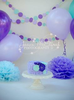 Mermaid Inspired Paper Circle Garland- Aqua, Purple, Lavender