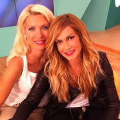 Anna Vissi with Eleni Menegaki ( a greek talk show presenter) Greek Music, Greeks, Famous Women, Celebs, Celebrities, Hair And Nails, Anna, Long Hair Styles, People