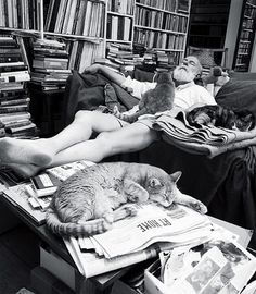 Edward Gorey,American writer & artist. Known for his macabre illustrated books. Sleeping with his cats.
