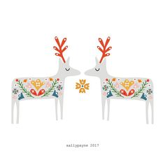 Sally Payne - Decided not to do an advent this year but have worked on a new christmas collection which Ill be posting most days throughout december starting today! Hygge Christmas, Christmas Deer, Christmas Design, Christmas Holidays, Christmas Crafts, Christmas Decorations, Xmas, Christmas Tables, Tree Decorations