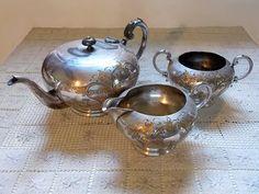 Antique Tea Set / Victorian Silverplate / by SmallbonesStudio, $47.00