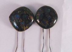Fused Glass Hair Bun Pins Set of 2 Rich Earth by FusedGlassRocks, $16.00