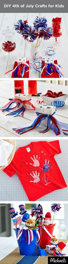 """Make these fun and festive 4th of July crafts for the kids! Let the kids get creative with """"Sparkler"""" wands, customized water bottles and patriotic treat boxes. Find everything you need at your local Michaels and make your Independence Day celebration fun & festive!"""
