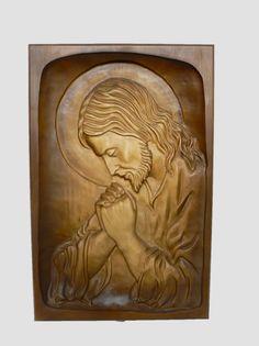 Talla hecha a mano de madera religiosa Jesús orando colgando