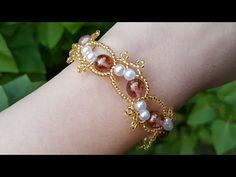 Natali Amapola - YouTube Beaded Bracelets Tutorial, Handmade Bracelets, Earrings Handmade, Beaded Jewelry Patterns, Bracelet Patterns, Beading Patterns, Beaded Brooch, Sea Glass Jewelry, Pearl Bracelet