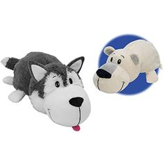 Safe and Washable, Husky Dog to Polar Bear Flip A Zoo, Multicolor. Flip between characters. 2 collectible toys in Hold and flip design. Doubles as a soft pillow. Ideal gift for kids to collect. 5 Babies, Disney Lion King, Soft Pillows, Snuggles, Polar Bear, Plush, Husky Dog, Dogs, Fun