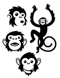 Noir graphique illustrations de singe.