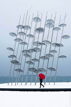 In January after 15 years without a considerable snowfall, Thessaloniki was again covered in snow. See the best pictures we took in the city's waterfront. Thessaloniki, Wind Turbine, Cool Pictures, Snow, City, Cover, Photography, Photograph, Fotografie