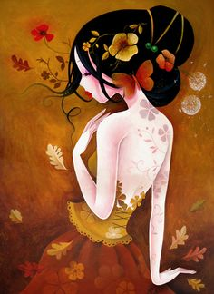 yellow geisha i like the tattoo-like flowers Art And Illustration, Art Illustrations, Illustrator, Art Mignon, Art Asiatique, Art Graphique, Art Design, Acrylic Painting Canvas, Chinese Art