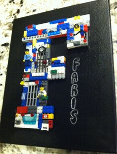 Lego City Police Custom brick letter and chalkboard wall art, made to order. on Etsy, $70.00