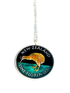 Coin Pendant, Pendant Necklace, Kiwi Bird, King George, New Zealand, Jewelry Box, Coins, Stainless Steel, Free Shipping