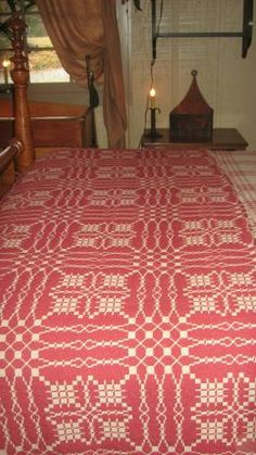 red woven coverlet