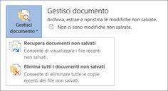 Gestione documenti in Office 2016