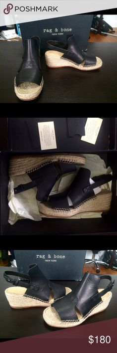 Rag & Bone Espadrille Wedges Chic rag & bone espadrille wedges. These come with original box. I wore them once they are practically new. If you want more pics I can send more. These are going to go fast. Rag & Bone Shoes Espadrilles