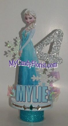 FROZEN Centerpiece or Cake Topper w/ Elsa & Glittered Number! Great Party Decoration and Perfect Keepsake! Frozen Party Food, Frozen Themed Birthday Party, Disney Frozen Birthday, Frozen Centerpieces, Frozen Birthday Decorations, Elsa Birthday Party, 4th Birthday Parties, Frozen Cake Topper, Party Props