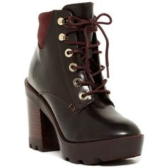 Aldo Olerinia Lace-Up Boot ($70) ❤ liked on Polyvore featuring shoes, boots, ankle booties, ankle boots, bordeaux, short lace up boots, lace up booties, platform bootie, platform ankle boots and platform booties