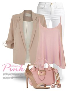 """""""Pink Outfit 3022"""" by boxthoughts ❤ liked on Polyvore featuring Frame, River Island, WearAll, Burberry, Yves Saint Laurent and Carolee"""