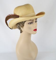 Vintage 1980s Western Style Hat Curled Brim Natural Straw w/ Pheasant Feather by Adolfo II Sz 21 1/2 by alleycatsvintage on Etsy